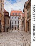 Vintage city street with paving stone in the Bratislava, Slovakia - stock photo