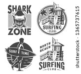 vintage surf logos monochrome...   Shutterstock .eps vector #1365737615