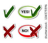 Vector yes no button - check mark symbol - stock vector