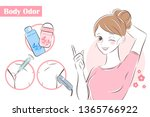 beauty cartoon woman with body... | Shutterstock .eps vector #1365766922