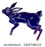 Stock vector agile black hare or rabbit running or jumping silhouette portrait ideal vintage background tattoo 1365768122