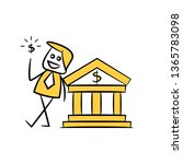 businessman and bank  yellow... | Shutterstock .eps vector #1365783098