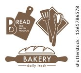 kitchen tools and fresh bread... | Shutterstock .eps vector #1365786578