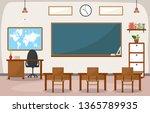 school classroom interior room... | Shutterstock .eps vector #1365789935