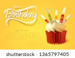 paper art of the cup of cake... | Shutterstock .eps vector #1365797405
