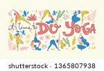 yoga poster in folk... | Shutterstock .eps vector #1365807938