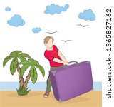 man with a suitcase against the ... | Shutterstock .eps vector #1365827162