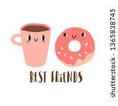 best friends  cartoon donut and ... | Shutterstock .eps vector #1365838745