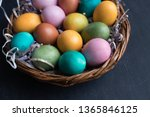 colorful easter eggs in basket... | Shutterstock . vector #1365846125