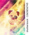 abstract kawaii pug flying in a ...   Shutterstock . vector #1365856745