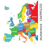 political map of europe...   Shutterstock .eps vector #1365901232