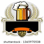 beer mug and hops. brewery logo ... | Shutterstock .eps vector #1365970538