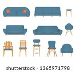 flat design icon set of chair... | Shutterstock .eps vector #1365971798