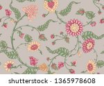seamless indian floral ethnic... | Shutterstock .eps vector #1365978608