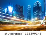 car light trails and urban... | Shutterstock . vector #136599146