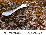titanium spoon for hiking in... | Shutterstock . vector #1366028375