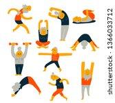 set of senior people activity.... | Shutterstock .eps vector #1366033712