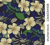tropical leaves and hibiscus... | Shutterstock .eps vector #1366034408