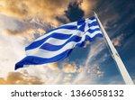 greek national flag on flagpole ...   Shutterstock . vector #1366058132