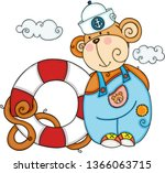 friendly sailor monkey with...   Shutterstock .eps vector #1366063715