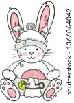 cute baby bunny sitting with...   Shutterstock .eps vector #1366064042