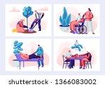 set of senior people activity... | Shutterstock .eps vector #1366083002