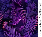 tropical neon palm leaves... | Shutterstock .eps vector #1366097768