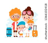 cute happy smiling family with... | Shutterstock .eps vector #1366102418