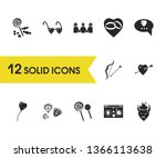 valentine icons set with heart...
