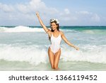 young sexy woman wearing white... | Shutterstock . vector #1366119452