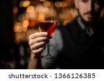 bartender serving a transparent ... | Shutterstock . vector #1366126385