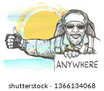 hitchhiking man with drawn in... | Shutterstock .eps vector #1366134068