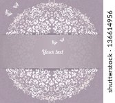 wedding card or invitation with ... | Shutterstock .eps vector #136614956