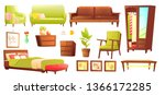living or bedroom object set... | Shutterstock . vector #1366172285