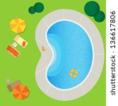 swimming pool on a green meadow ... | Shutterstock .eps vector #136617806
