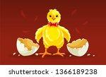 newborn cartoon hen chicken... | Shutterstock .eps vector #1366189238