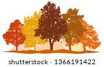 forest trees autumn silhouette... | Shutterstock .eps vector #1366191422