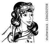 vintage pin up woman pilot... | Shutterstock .eps vector #1366202558