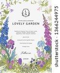 lovely garden. vector... | Shutterstock .eps vector #1366244975