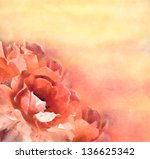 Stock photo artistic floral picture with blooming flowers roses digital background as pastel drawing 136625342