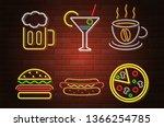 glowing neon signboard fast...   Shutterstock . vector #1366254785