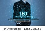 3D rendering of IEO text (Initial Exchange Offering) glowing hologram hover over tablet in a palm of business man. New solution for crypto currency market as alternative to ICO and STO.