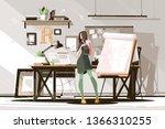 girl architect working on... | Shutterstock .eps vector #1366310255