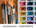 colorful watercolor  acrylic... | Shutterstock . vector #1366350692