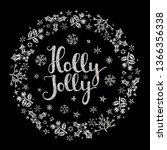 holly jolly quote with star and ...   Shutterstock .eps vector #1366356338