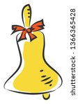 yellow brass bell with red bow... | Shutterstock .eps vector #1366365428