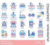 theme park icons including... | Shutterstock .eps vector #1366394522
