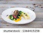 beef meat with green peas ... | Shutterstock . vector #1366415258