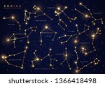 zodiac constellations set ... | Shutterstock .eps vector #1366418498