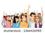 spectators isolated on white... | Shutterstock . vector #1366426985